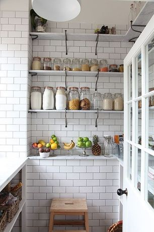 Contemporary Pantry with Ann sacks davenport rectangle field in white gloss, Paint