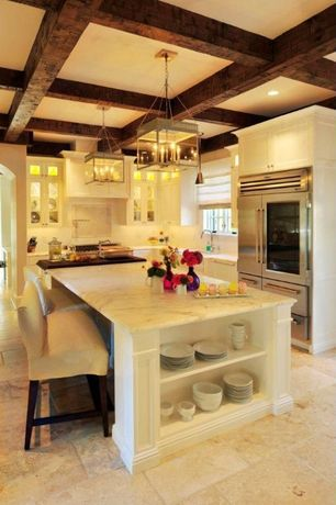 Traditional Kitchen with L-shaped, Pendant light, Flat panel cabinets, Marble countertop, Breakfast bar, Glass panel, Flush
