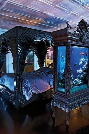 Art Deco Master Bedroom with Canopy bed, A 1980s Ornately Carved Wood Canopy Bed by Phyllis Morris, Aquarium