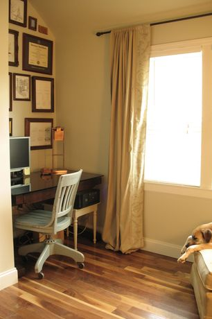 Traditional Home Office with Paint, Office Star Deluxe Wooden Bankers Chair in Antique white, Casement, Hardwood floors