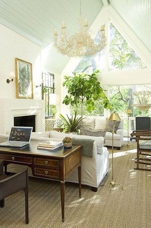 Eclectic Living Room with Currey & company seaward 6 light candle chandelier, A-frame