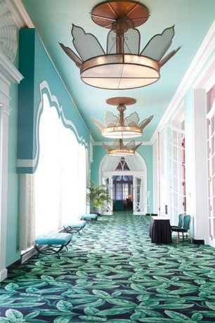 Tropical Hallway with High ceiling, French doors