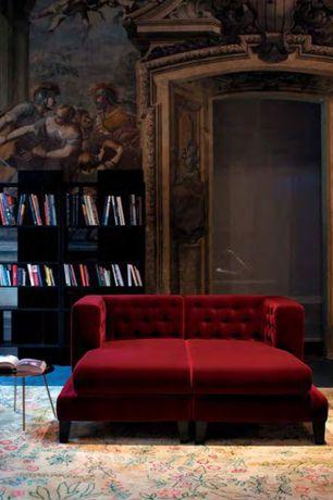 Eclectic Living Room with Bookshelf, Built-in bookshelf, Velvet settee bench, Wall mural, Trompe l'oeil wall, Standard height
