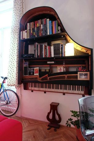 Eclectic Home Office with Salvaged and repurposed piano bookshelves