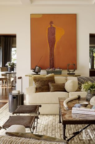 Contemporary Living Room with Neutral area rug, Coffee table, Detroit Sofa II by Gold Sparrow, End table, Artwork, Ottoman