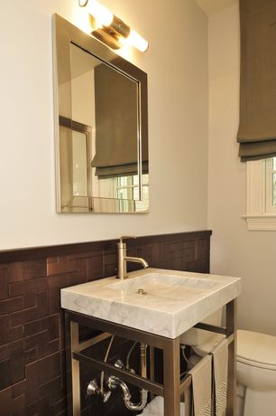 Contemporary Powder Room with Deknudt Integro - Rectangular Mirror with Angled Mirror Surround Frame