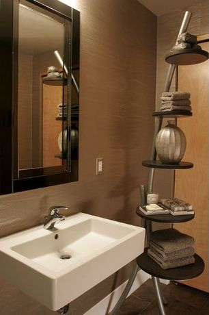 "Modern Powder Room with Caracalla Ceramica Wall Mount Bathroom Sink, Spine 67"" Book and Media Tower by Proman Products"