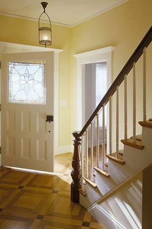Traditional Entryway with Standard height, Glass panel door, flush light, Laminate floors, Crown molding