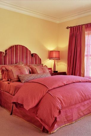 Traditional Guest Bedroom with Carpet, double-hung window, Standard height, Crown molding