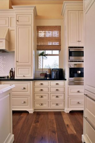 Traditional Kitchen with Kitchen island, Carrara marble, Crosshatch tile backsplash, Large Ceramic Tile, High ceiling