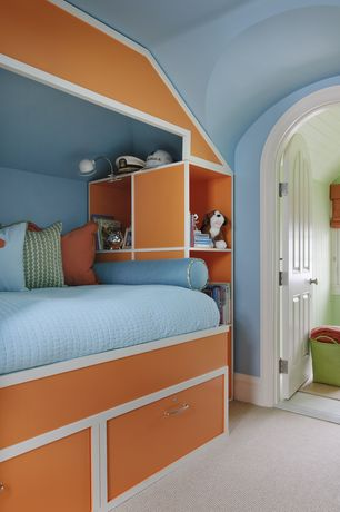 Contemporary Kids Bedroom with Arched doorway, Paint 2, six panel door, Carpet, Paint 3, Bunk beds, High ceiling, Paint 1