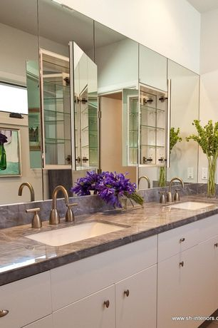 Modern Master Bathroom with Complex marble counters, large ceramic tile floors, European Cabinets, Complex Marble, Flush