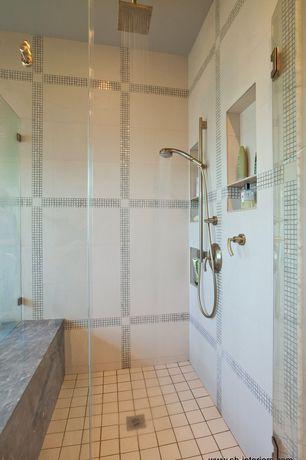 "Modern Master Bathroom with Calacatta carrara classic, Bedrosians 15/16"" x 15/16"" mosaic mesh mounted tile in pearl"