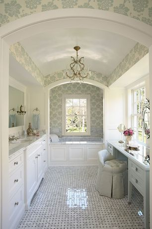 Traditional Master Bathroom with Chandelier, Ella vanity stool, Venetian gems agnes venetian wall mirror, Undermount sink