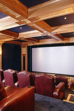 Traditional Home Theater with Carpet, flush light, Exposed beam, Box ceiling, High ceiling