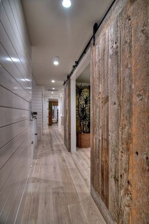 Contemporary Hallway with Paint 1, Laminate floors, Dream home - nirvana plus  10mm+pad delaware bay driftwood, can lights