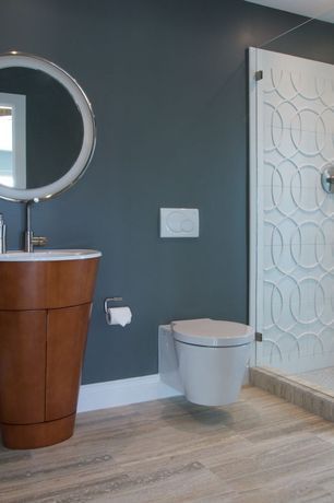 Contemporary 3/4 Bathroom with EAGO Modern Dual Flush Elongated Toilet 1 Piece, Laminate floors, Pedestal sink, Shower