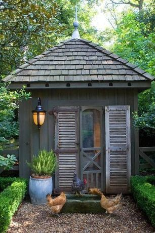 Traditional Garage with Reclaimed wood, Rustic chicken coop