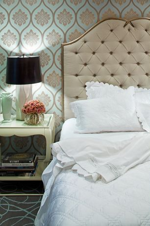 Traditional Master Bedroom with Tufted ivory king/california king size upholstered headboard
