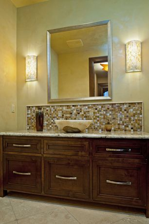 Traditional Powder Room with full backsplash, Inset cabinets, Vessel sink, Complex marble counters, Wall sconce, Powder room