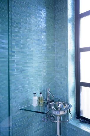 Modern Powder Room with Aquarelle, Loft blue gray brick pattern, Axor starck single-hole faucet