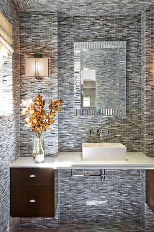 Contemporary Powder Room with D'vontz grenada china vessel bathroom sink, European Cabinets, Standard height, Wall sconce