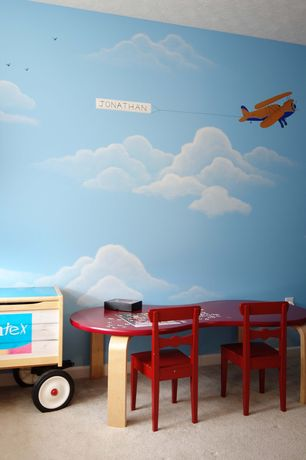Modern Playroom with Play table by oeuf, York wallcoverings peek-a-boo kids clouds wallpaper