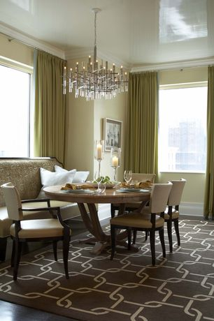 "Contemporary Dining Room with Chains brown 8'3"" x 11'6"" indoor/outdoor rug, Chandelier, Tall candle holder trio, Carpet"