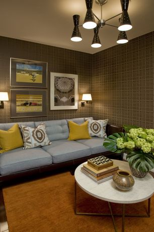 Contemporary Living Room with Wall sconce, interior wallpaper, Laminate floors