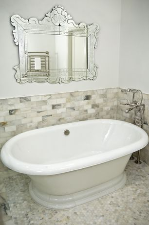 Contemporary Full Bathroom with penny tile floors, Freestanding, Master bathroom, Venetian mirror
