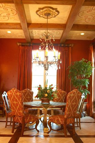 Traditional Dining Room with Chandelier, Paint 2, Paint, Claw foot dining table, Coffered ceiling, ceramic tile floors