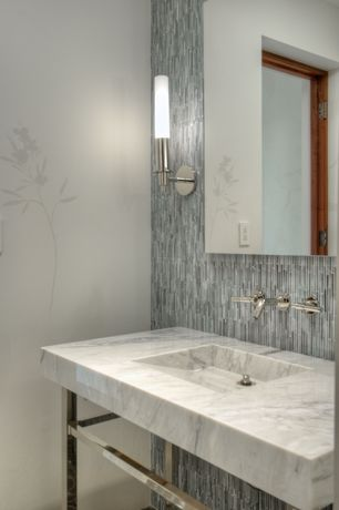 Contemporary Powder Room with Shades of light cylinder glass bath sconce, interior wallpaper, Wall sconce, Powder room