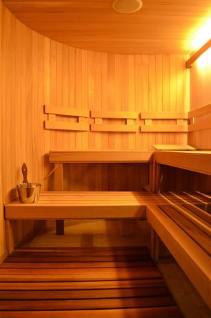 "Contemporary Master Bathroom with Cederbrook double wide sauna bench, Cederbrook cedar sauna duckboard kit 18""x48"" flooring"