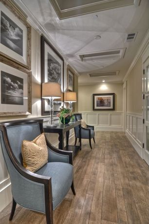 Traditional Hallway with Wainscotting, Chair rail, Crown molding, Hardwood floors, Skylight