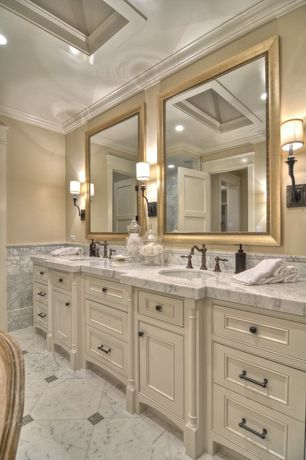 Traditional Master Bathroom with Crown molding, Inset cabinets, Flat panel cabinets, Marble floor tile, Wall sconce, Skylight