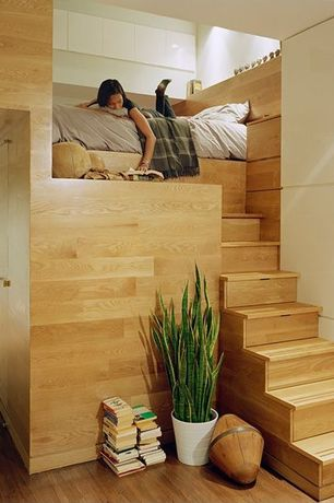 Contemporary Staircase with Custom sleeping nook, Raymore oak butterscotch, Snake plant, Ikea, kardemuma pot, Hardwood floors
