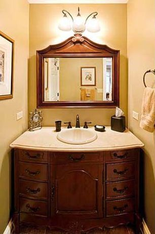 """Traditional Powder Room with Powder room, Proflo pf1125wh white 17-1/4"""" self rimming bathroom sink, Flat panel cabinets"""