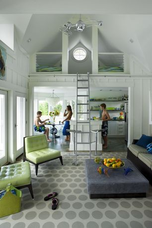Cottage Living Room with Martha Sturdy Floating Square & Rectangle Table, Custom Sliding Library Ladder, French doors, Loft