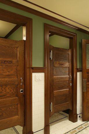Craftsman Full Bathroom with Vintage Walnut Door with Five Horizontal Recessed Panels