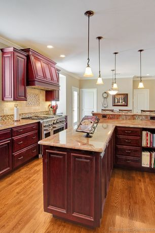 Traditional Kitchen with Kitchen island, One-wall, Large Ceramic Tile, Custom hood, Bay window, Breakfast bar, Crown molding