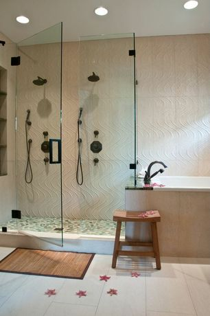 Contemporary Master Bathroom with Rain shower, Master bathroom, Handheld showerhead, Ann sacks, piazza field tile