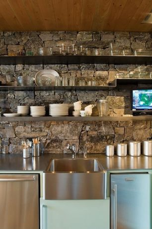 Rustic Kitchen with Open shelving, Stainless steel shelves, Stacked stone wall, Pine ceiling