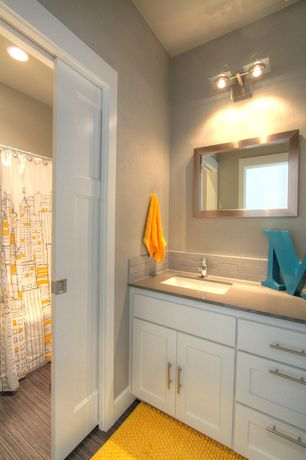 Contemporary Full Bathroom with Flat panel cabinets, partial backsplash, Standard height, Undermount sink, Bamboo floors