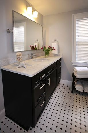 Traditional Full Bathroom with Restoration hardware vintage 40x30 pivot mirror, Liberty hardware modern bar pull