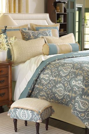 Traditional Master Bedroom with Bassett full size custom uph beds vienna arched headboard