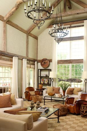 Eclectic Living Room with Carpet, Chandra Rugs Art Checker Board Brown Rug, Cathedral ceiling, Exposed beam, Chandelier