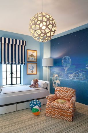 Contemporary Kids Bedroom with Custom upholstered club chair, Coral pendant, Mural, Pendant light, Carpet, Striped carpet