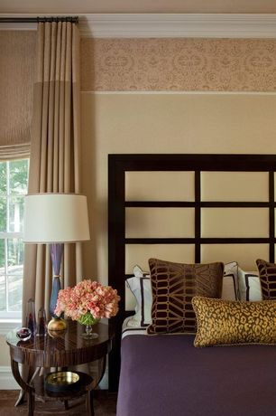 Contemporary Master Bedroom with Universal Furniture California Panel Bed, interior wallpaper, Crown molding, Carpet