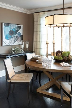 Contemporary Dining Room with Pendant light, Traditional chinese inspired alter console table, Hardwood floors, Centerpiece