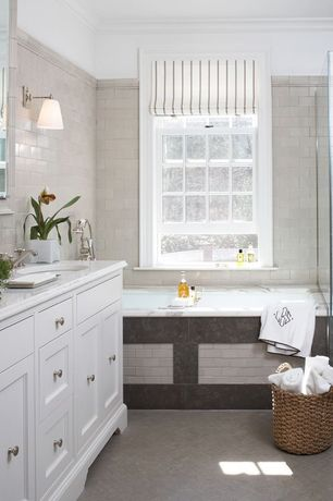 Traditional Full Bathroom with Standard height, herringbone tile floors, Master bathroom, Crown molding, Undermount sink